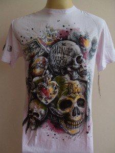 Minute Mirth Winged Heart Skull Tattoo Men T-shirt Pink  L