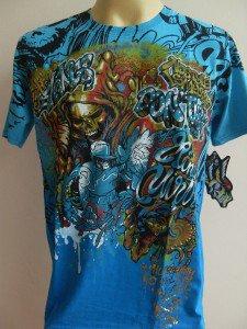 Minute Mirth Evil Fight Graffiti GorilllaTattoo Men T-shirt  Blue L