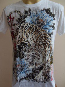 Emperor Eternity Peony Tiger Tattoo Men T-shirt white S M L XL 18077 7613