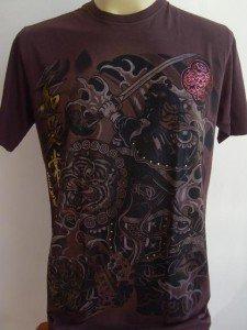Emperor Eternity Tiger shield Samurai Tattoo brown L