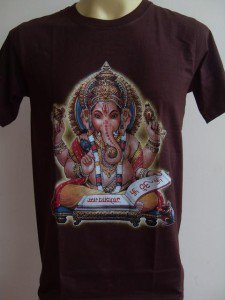 Ganesha Ganesh Men T Shirt OM Hindu India Brown M #SiBr