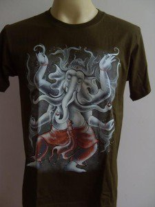 Ganesha Ganesh Men T Shirt OM Hindu India green # DCG