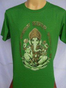 Ganesha Ganesh  Men's T Shirt OM Hindu India Green XXL