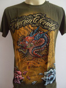 Emperor Eternity Glittering Dragon tattoo shirt Green M 17068 8645
