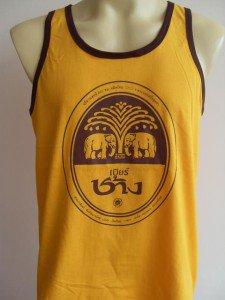 Thai Chang Beer Men T-shirt Tank Top Yellow M