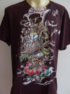Ganesha Ganesh Men T Shirt OM Hindu India Brown L 18066 6622