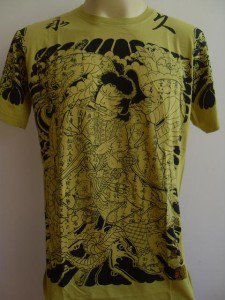 Emperor Eternity Samurai Fighting Python Tattoo Yellow L