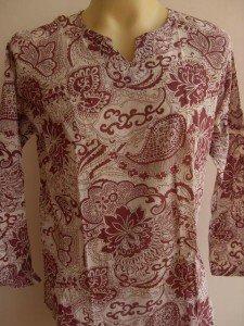 Thai Men T Shirt OM Hindu India White-red  L