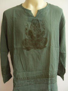 Ganesha Ganesh  Men T Shirt OM Hindu India Green L # lotus