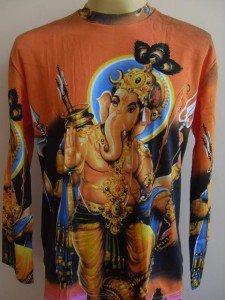 Ganesha Ganesh Men T Shirt OM Hindu India Orange L #1 Long sleeve