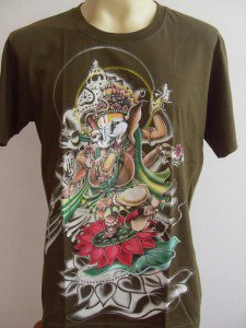 Ganesha Ganesh  Men's T Shirt OM Hindu India green M