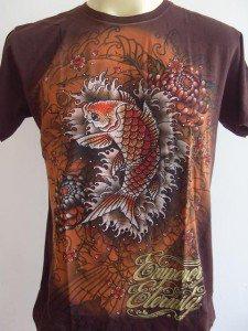Emperor Eternity Glittering KOI Tattoo shirt Brown M L