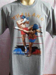 BOXING MUAY THAI FIGHTING SCREENED Men T shirt Gray L