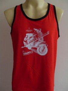 Scooter Retro Men T-Shirt Tank Top Red Singlet M