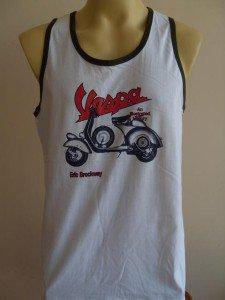 Scooter Retro Men's T-Shirt Tank Singlet White L