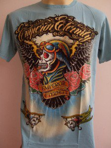 Emperor Eternity Skull Pilot Tattoo T shirt Blue L