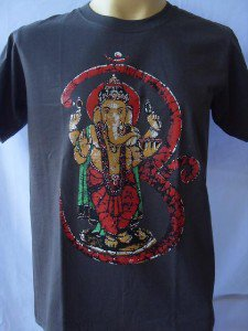 Ganesha Ganesh  Men T Shirt OM Hindu Retro Gray M L