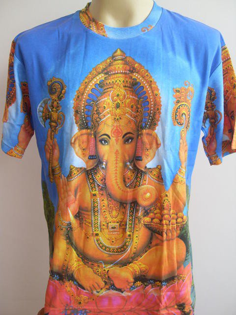 Ganesha Lord of Ganesh  Men T Shirt OM Hindu Hinduism India Blue L 18083 4883
