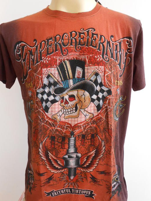 Emperor Eternity Spark Winner SKull Tattoo Brown M holes Tattoo T-Shirt