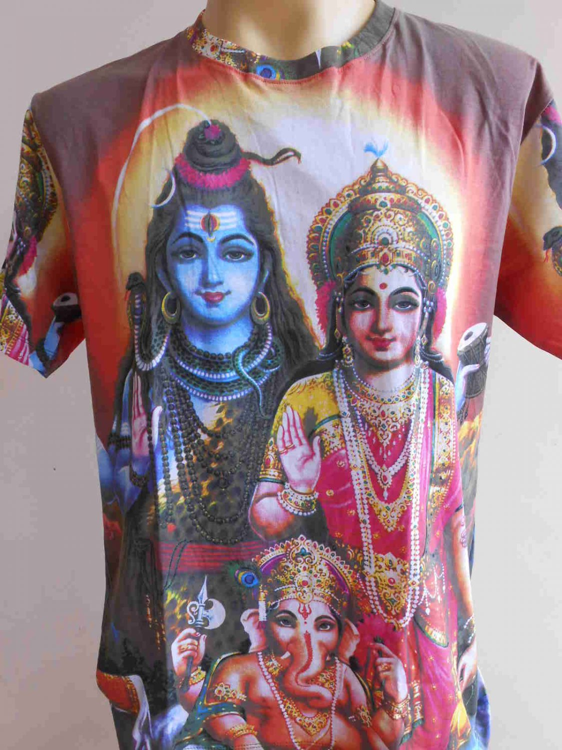 Shiva Family Men T Shirt OM Hindu India size L