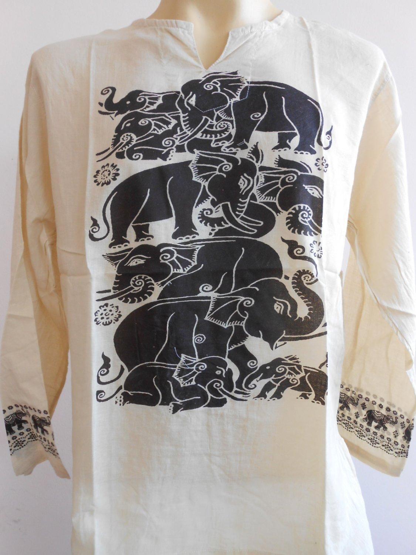 Thai Elephant Thin Cotton Meditation Men's T Shirt Light Brown L TL08
