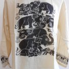 Thai Elephant Thin Cotton Meditation Men's T Shirt Light Brown L TL08
