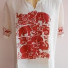 Thai Elephant Thin Cotton Meditation Men's T Shirt White XL TL06s