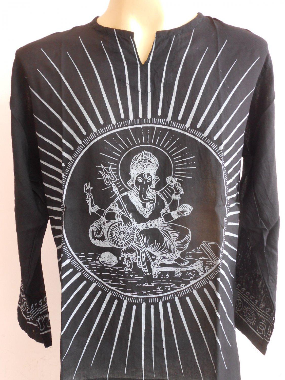 Ganesh Ganesha Om Men's T Shirt Hindu India ฺBlack L #Gt18 Thin Cotton
