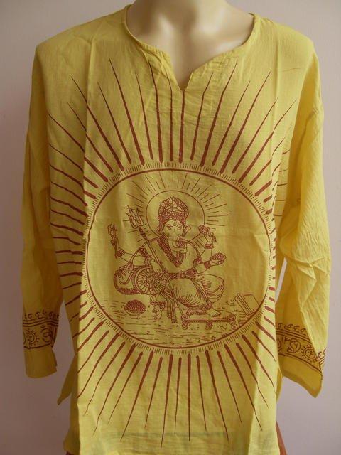 Ganesh Ganesha Om Men's T Shirt Hindu India Yellow XL # Thin Cotton