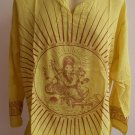 Ganesh Ganesha Om Men's T Shirt Hindu India Yellow 2XL # Thin Cotton