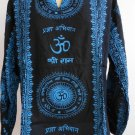 Ganesh Ganesha Om Men's T Shirt Hindu India Black 2XL #Blue Print Thin Cotton