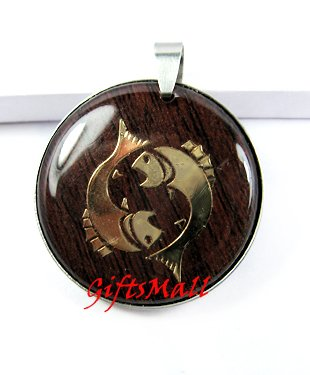 Horoscope Zodiac Constellation Red Round Necklace Pendant Pisces