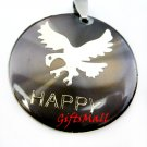Light Purple Round Gold Eagle Happy Necklace Pendant