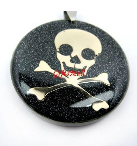 Black Round Gold Skull Necklace Pendant