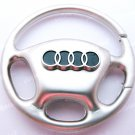 Audi Steering Wheel Car Chrome Keyring Key Chain New