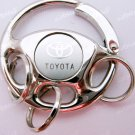Toyota Round Car Chrome Keyring Key Chain New