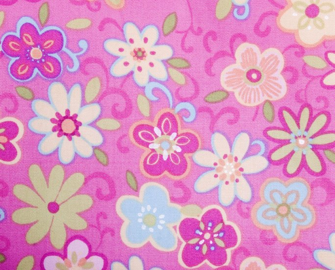 Flowers in pink//cotton//twill//
