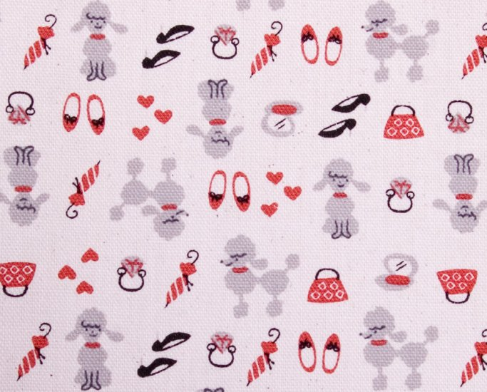 Kawaii poodle//red//cotton//oxford