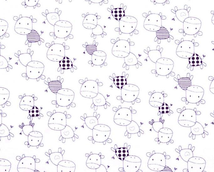Kawaii cow//cotton//slub//black