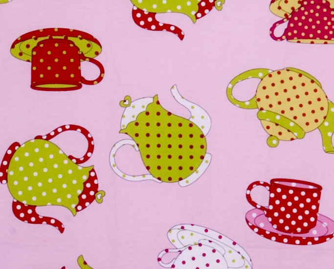 pot and tea cup// pink//1 yard