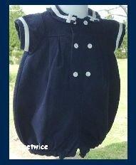 Mondays Child Girl Navy Sailor Collar Bubble Easter 9 M