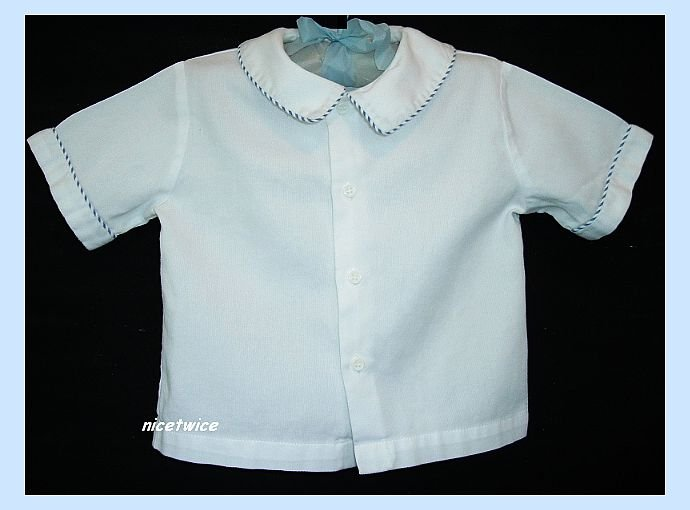 Sophie Dess Boutique Boy White SS Shirt Blue Trim 24 M