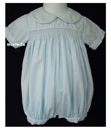 House of Hatten Boy Blue Shirred Bubble Romper 9 M