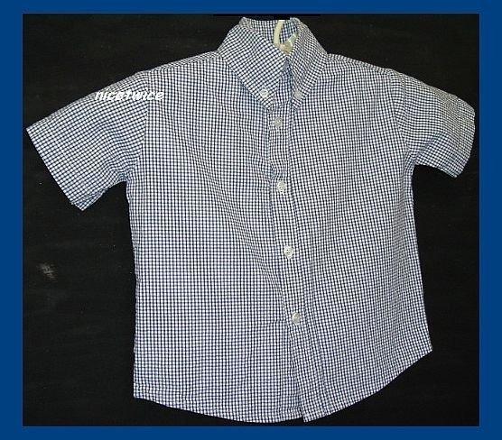 Glorimont Boy SS Blue Gingham Seersucker Shirt 2T