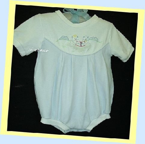 Petit Ami Boy Blue White Romper Bears ABC Book 3 M