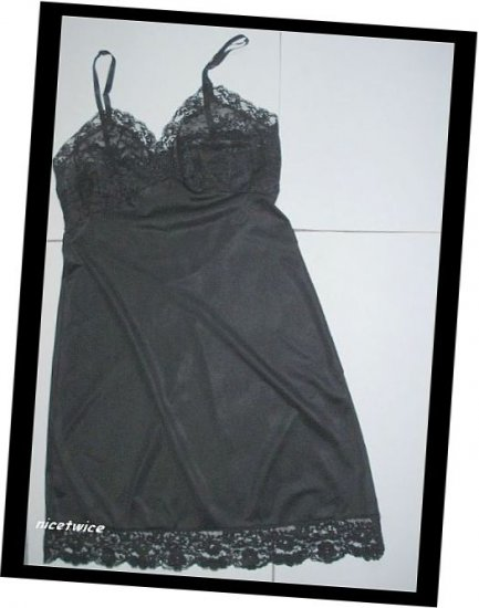 Van Raalte Ladies Black Nylon  Full Slip Lace Bodice 34