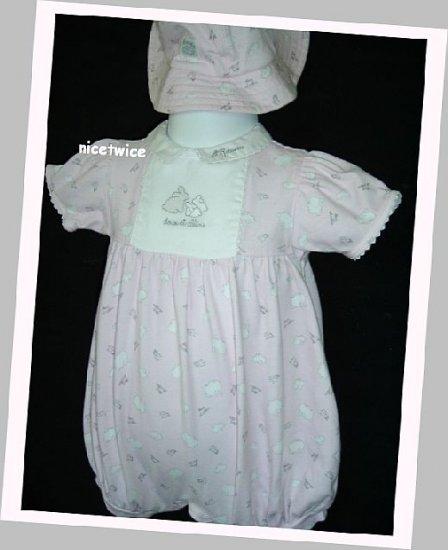 Absorba Girl Pink Bubble Hat Set Easter Rabbit 9 M