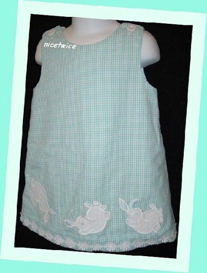 Kellys Kids Girl Blue Green Seersucker Dress Rabbits 3