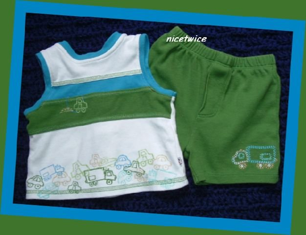 Absorba Boy Tank & Shirt Set Cars Trucks 6 M