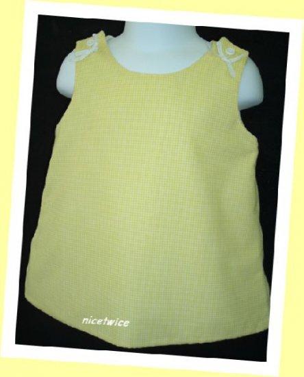 Jordan Lee Girl Yellow Gingham Checked Lined Dress 12 M